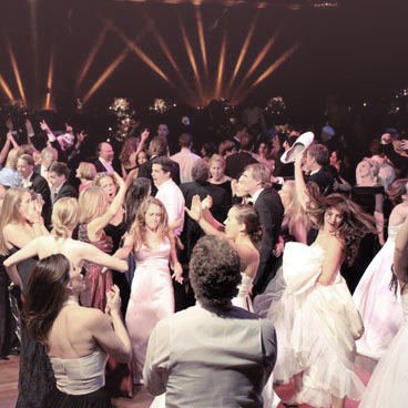 Dancing crowd at wedding