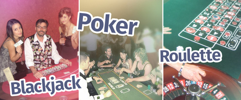 Our casino parties featuring blackjack, poker and roulette tables