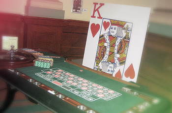Roulette table giant playing cards